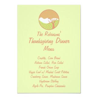Pastel Fall Scene (Veg) Thanksgiving Dinner Menu Card