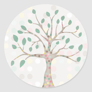 Pastel Family Tree Polka Dot Baby Shower Party Classic Round Sticker