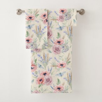 Pastel Fields of Provence Bath Towels