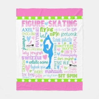 Pastel Figure Skater Words Typography Fleece Blanket
