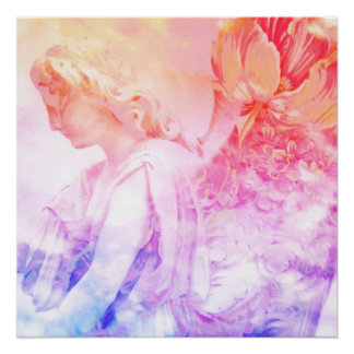 Pastel Floral Angel - Blessings and Peace Poster
