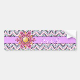 Pastel Floral Chevron Car Bumper Sticker