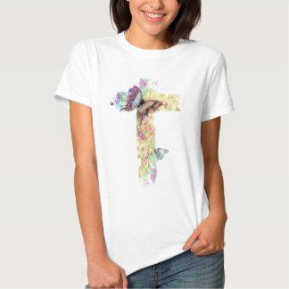 Pastel floral cross and butterflies shirt