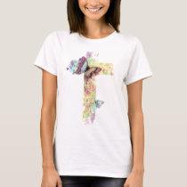 Pastel floral cross and butterflies T-Shirt