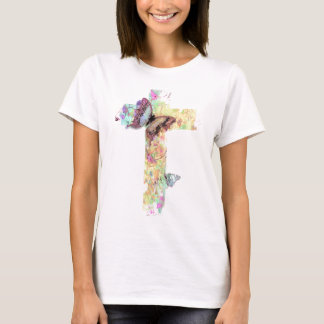 Pastel floral cross and butterflies T-Shirt