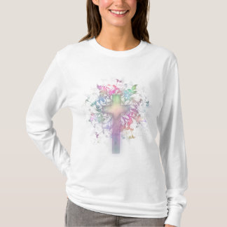 Pastel Floral Cross T-Shirt