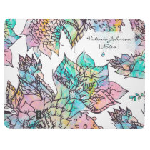 Pastel floral hand drawn watercolor pattern journal