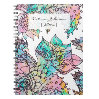 Pastel floral hand drawn watercolor pattern notebook