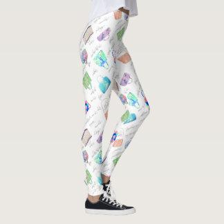 Pastel Floral Handbag Illustrations Typography Leggings