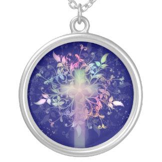 Pastel Floral Round Pendant Necklace
