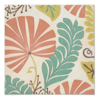 Pastel Floral Vines and Leaves on Cream Background Poster