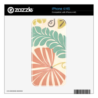 Pastel Floral Vines and Leaves on Cream Background Skin For iPhone 4S