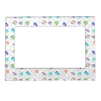 Pastel Floral Watercolor Illustrations Typography Magnetic Picture Frame