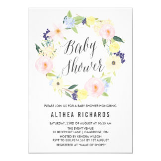 Pastel Floral Wreath Baby Shower Invitation