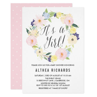 Pastel Floral Wreath Baby Shower Invitation