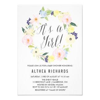 "Pastel Floral Wreath Baby Shower Invitation 5"" X 7"" Invitation Card"