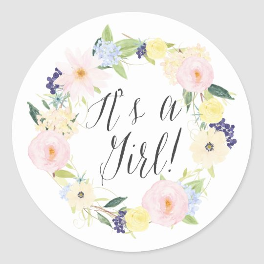 d1cec058e Pastel Floral Wreath It s a Girl Baby Shower Stamp Classic Round Sticker