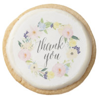 Pastel Floral Wreath Thank You Shortbread Cookies