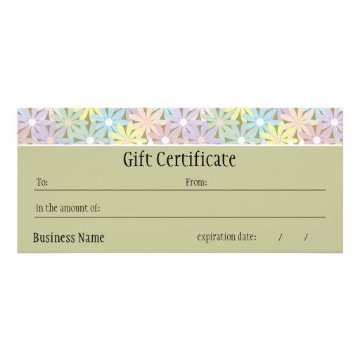 Pastel florals gift certificate custom rack card zazzle for Zazzle gift certificate