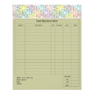 """Pastel Florals Small Order Form 4.5"""" X 5.6"""" Flyer"""