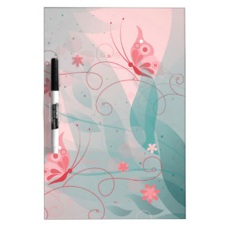 Pastel Flower and Butterflies Dry-Erase Board