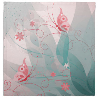 Pastel Flower and Butterflies Napkin