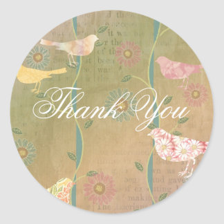 Pastel Flower Birds Thank You Round Sticker