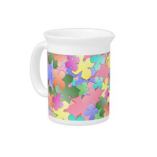 Pastel Flower Collage Beverage Pitcher