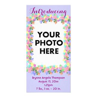 Pastel Flower Collage Custom Birth Announcement