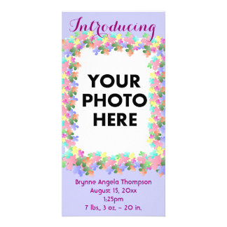 Pastel Flower Collage Custom Birth Announcement Photo Card
