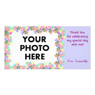 Pastel Flower Collage Custom Photo Card