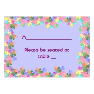 Pastel Flower Collage Custom Place Cards