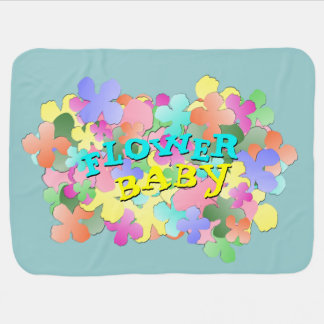 Pastel Flower Collage FLOWER BABY Blue Stroller Blankets