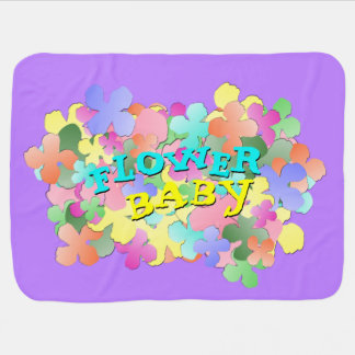 Pastel Flower Collage FLOWER BABY Lilac Receiving Blankets