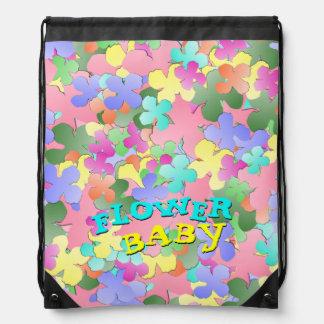 Pastel Flower Collage FLOWER BABY Drawstring Backpack