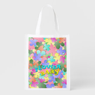 Pastel Flower Collage FLOWER BABY Reusable Grocery Bag