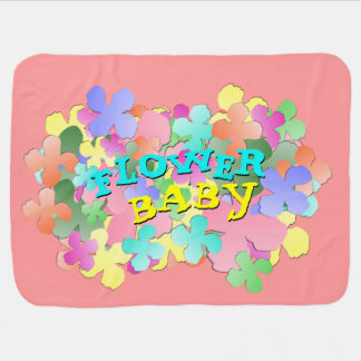 Pastel Flower Collage FLOWER BABY Rose Pink Stroller Blanket
