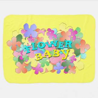Pastel Flower Collage FLOWER BABY Yellow Stroller Blankets