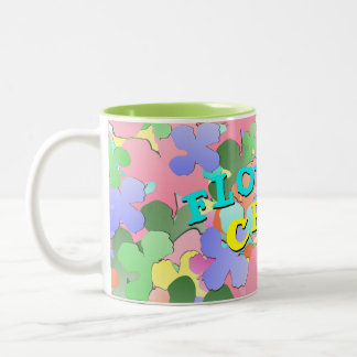 Pastel Flower Collage FLOWER CHILD Two-Tone Coffee Mug