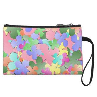 Pastel Flower Collage Wristlet Wallet
