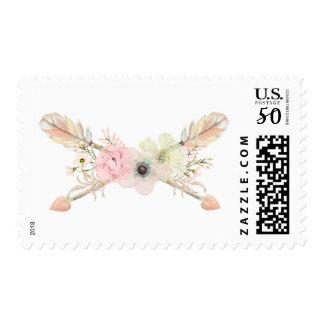 Pastel flower crossed arrows bohemian postage