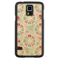 pastel flower owl background pattern carved maple galaxy s5 slim case