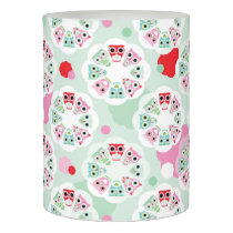 pastel flower owl background pattern flameless candle
