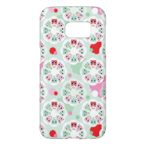 pastel flower owl background pattern samsung galaxy s7 case