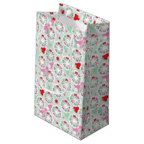 pastel flower owl background pattern small gift bag