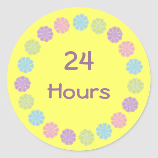 Pastel Flowers 24 Hours Customizable Recovery Round Sticker