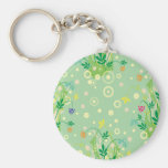 pastel flowers abstract key chain