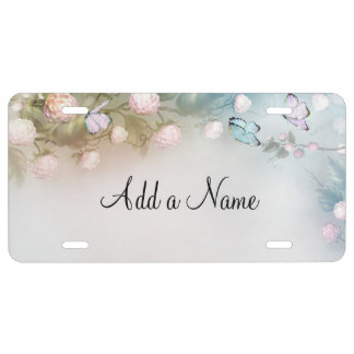 Pastel flowers and butterflies license plate