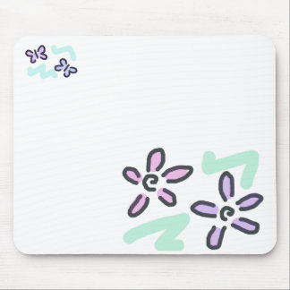 Pastel Flowers and Butterflies Mouse Pad