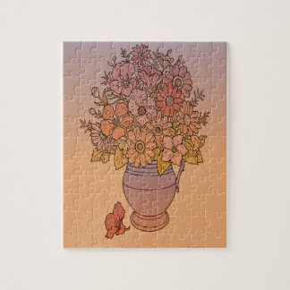 Pastel Flowers in a Vase Jigsaw Puzzle